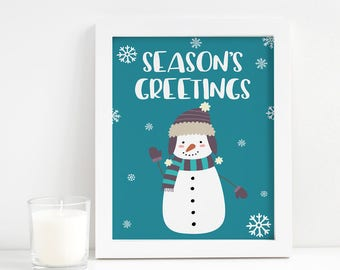 Christmas Printable - Christmas Decorations - Season's Greetings - Christmas Snowman - Christmas Mantle Decor - Last Minute Christmas Gift