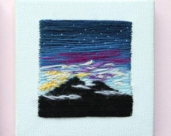 Starry Sunset   Handmade   Wall Art   Home Decor   Minimalism   Tiny Art   Hand Embroidery   Office Decor   Canvas   Textile Art   Souvenir