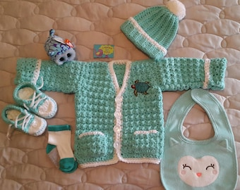 Crochet Baby Boy Turquoise Cardigan, Sneaker Booties, Hat with Pom Pom, Bib, Socks and also a Teenie TY Plush Animal in a Beautiful Gift Box