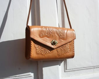 Leather bag, vintage leather bag, Leather purse, Leather crossbody bag, Vintage crossbody, Tooled leather bag, Boho leather bag,Gift for her