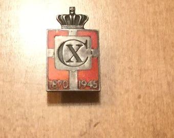 Danish Sterling Silver patriotic lapel pin of King Christian X, King of Denmark