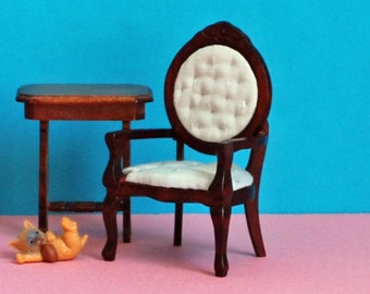 Vintage miniature dining chair - dollhouse dining room furniture - pale blue upholstery - Victorian mahogany armchair - flower carving -