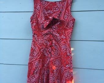Vintage Red Bandana Print Handkerchief Sleeveless 80s Button Up Tie Front Shorts Romper with Pockets