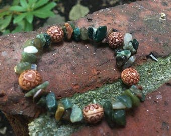 Moss Agate Chip and Heart Bracelet