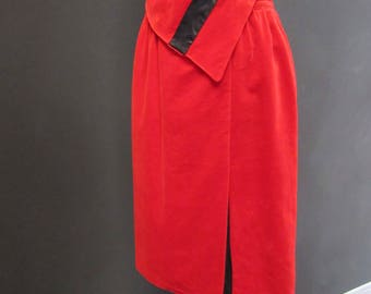 Years ' 80 asymmetrical vintage skirt in red velvet