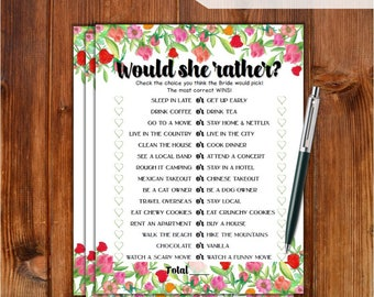 Would She Rather Bridal Shower Game - Roses Flowers Theme Printable Bridal Shower Game - Bachelorette Party Night - Hen Party Game RS79