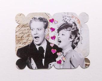 man and woman singing, original paper collage