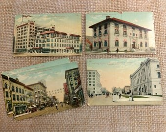 Antique Texas Post Cards / Set of 5 Unused Vintage Colorized Photograph Post Cards