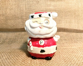 Vintage Mid Century Winking Santa Stacking Salt and Pepper Shakers