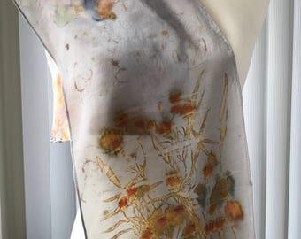Eco printed, hand made crepe de chine silk scarf (A23)