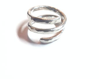 Handmade triple wraparound sterling silver ring with hammered finish.