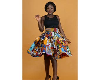 African patchwork midi skirt / African skirt / African midi skirt / Ankara skirt / Ankara midi skirt / Ankara midi