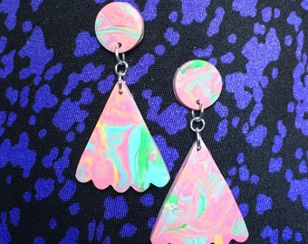 pink swirl triangle dangles