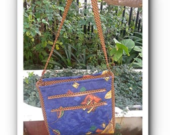 Blue with Green Brown Shweshwe Student bag