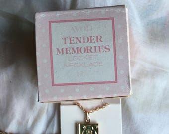 NIB Vintage Avon Tender Memories Locket Necklace, 1980