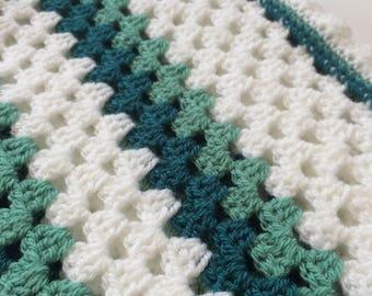 Crochet Baby Blanket in Granny Stripes - Baby shower gift