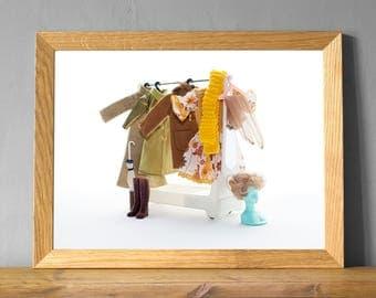 Cloakroom print, hallway art, vintage fashion, fashion print, quirky art print, autumn decor, seasonal decor, warm color, 60s vintage, UK