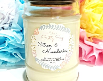 Natural Soy Candle CITRON & MANDARIN, 100% soy wax, Best summer scent