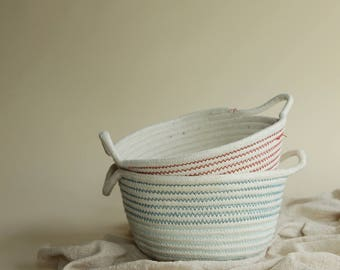 Cotton Rope Storage Basket with Handles in White with Blue or Red Thread Stitching | Wite Cotton Rope Basket |Home Decor