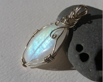 Wire Wrapped Oval Rainbow Moonstone Pendant