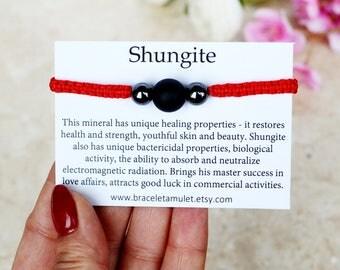 Good luck bracelet Shungite bracelet Women bracelet Red String Bracelet Energy bracelet Crown chakra Macrame bracelet Red bracelet