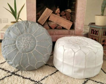 Moroccan Pouf round //Set of 2 Moroccan Handmade Leather pouffes // Leather Ottoman  // 100 % Handmade // Genuine Leather // GRAY+ WHITE