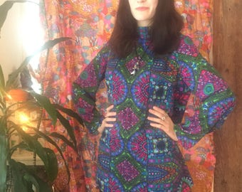 Mosaic Moroccan Psychedelic 60s Tunic Top with Nehru Collar Size Medium