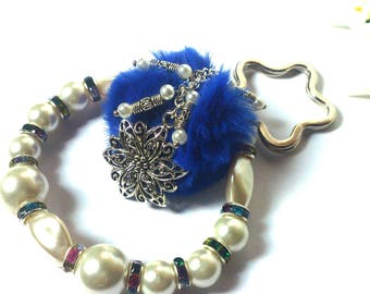 Keychain Three in ONE - Silver Flower - Bracelet Keychain - Beaded Keychain - Blue Pom Pom - Flower Ring - Fashion Keychain