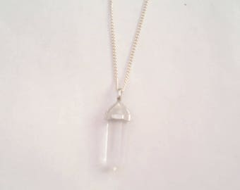 Clear Crystal Point Pendant, Necklace, Silver Chain and Bail, Crown Chakra - April Birthstone.