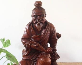 Chinaman Wood Carving - hand carved sculpture - Bohemian Boho Eclectic Jungalow Decor Style Home - Asia figure old man china #0474