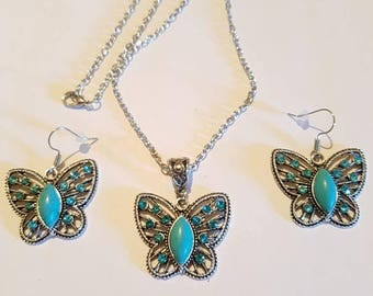Turquoise butterfly necklace and earrings set. Blue butterfly jewelry.