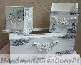 beauty containers set, tissue box, make-up brush container, brushes container, wooden containers, white box, shabby chic set