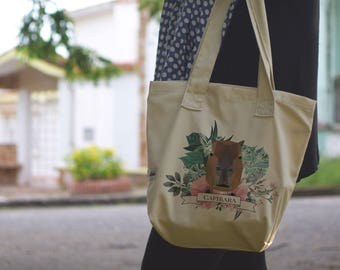 Tote Bag | Beige | Drill | Screen Printed | Capibara Clothing