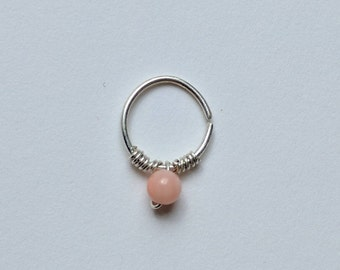 Delicate Silver Septum/Daith Ring With Pink Stone