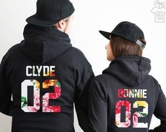 Couples hoodies couples sweaters bonnie and clyde sweatshirts bonnie and clyde hoodies couple sweatshirts anniversary gift bonnie and clyde