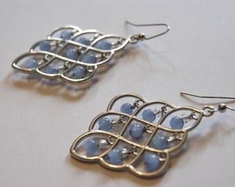 Sky blue beaded chandelier earrings