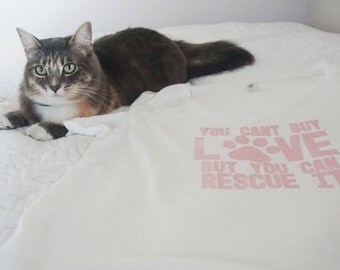 Speak for Pets with this T-Shirt - Animals may not have a voice but you do - You Can't Buy Love But You Can Rescue it! Plus Sizes Available