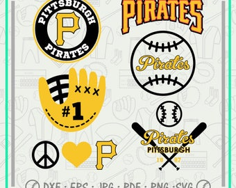 Pittsburgh Pirates Svg Monogram, Baseball Svg Cutting Files Cliparts, Sport Svg, Instant Download, Baseball Clipart, Co-2712