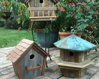 Handcrafted birdhouse made of recycled material