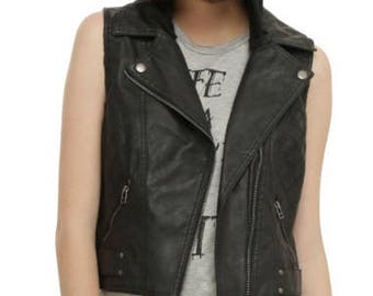 Vintage Style Faux Leather Vest with Removable Hood