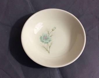 "Vintage Blue & Cream Ceramic Bowl Blue Floral Design 1 1/4"" high x 5 1/4"" diameter"