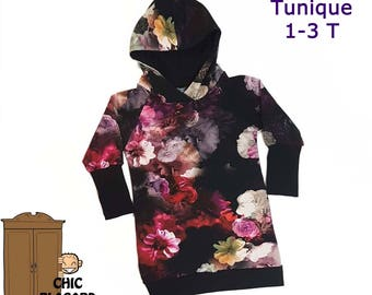 Long Hoodie for girls with FLOWERS  grow-with-me
