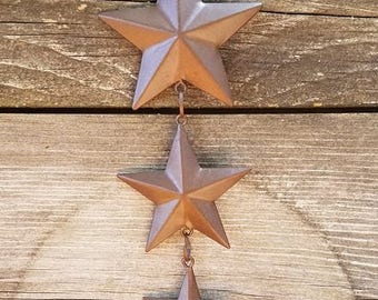 Star Tin Garland, Rusty Star Garland, Vertical Hanging Star Garland Primitive Decor, Farmhouse Decor Craft Supplies Primitive Craft Supplies