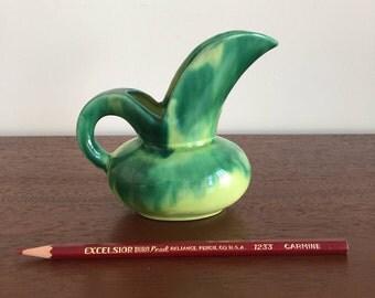 Small Handmade Green Pitcher, Signed Verna