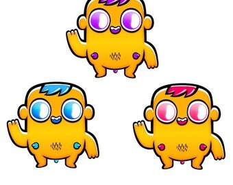 Churritas Yellow. 3 stickers pack (+1 random secret not listed sticker)
