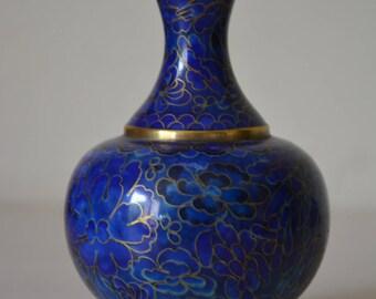 Cobalt blue cloisonné vase vintage