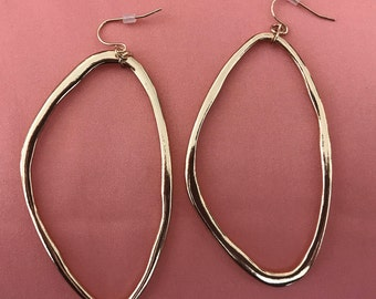 Gold Sculptural Oval Hoops