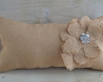 Burlap Pillow, Throw Pillow, Shabby Chic, Farmhouse Style, Cottage Decor, Romantic, Bling, OOAK, Handmade Pillow, Rustic, French Country