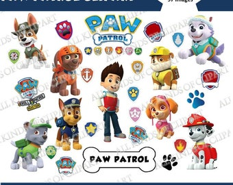 97 PAW PATROL CLIPART Images 300 Dpi, Iron On Transfers, Stickers, Decals,  Png file Format, Transparent Backgrounds