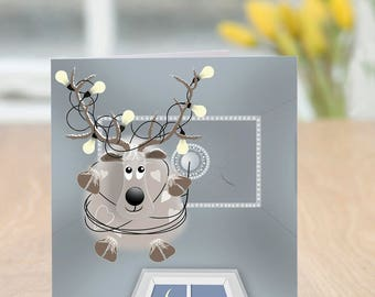 Chandelier - Funny and Quirky Reindeer Christmas Card